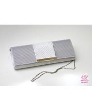 S 073 Серебристо-серый атласный клатч