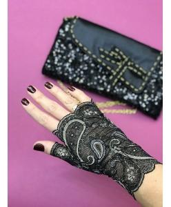 PR 166 Кружевные короткие черные с золотом перчатки