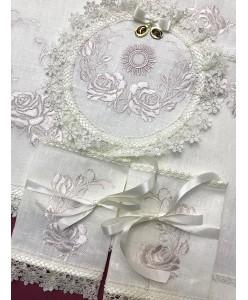 PL  083 Набор венчальный лён розы
