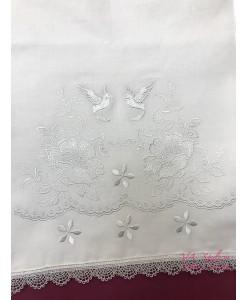 RU 079-1 Белый рушник хлопок с вышивкой