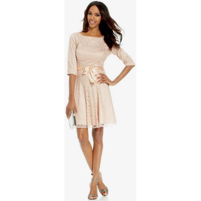 40cefdbbe08 V 179 Платье бежево-персиковое с рукавами - Hatshop интернет магазин ...