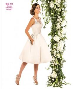 WD 215 Короткое платье атлас с карманами с кружевным верхом