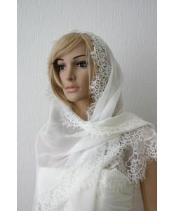NK 059 Платок-шаль из натурального шёлка в цвете шампань
