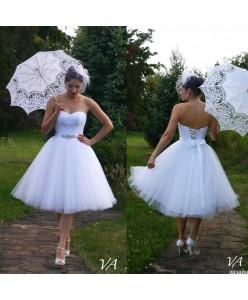 WD 222 Белое пышное короткое платья с корсетом