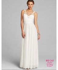 WD 245 Свадебное платье в молочном цвете на бретелях с кружевом