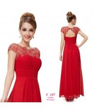 V 187 Красное платье с кружевным верхом