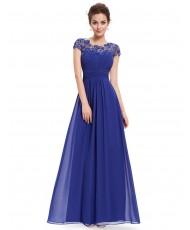 V 187-blue  Синее платье с кружевным верхом