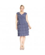 V 192 Платье серо-голубое с оборками 56р