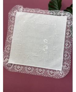 PL 100 Белые платочки с вышивкой гладь