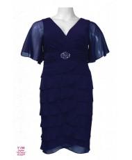V 196 Тёмно-синее платье шифон с рукавом