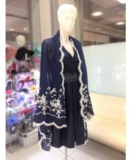 NK 075-blue  Палантин синий хлопок с вышивкой