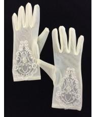 DPR 014 Перчатки сеточка с вышивкой в цвете шампань