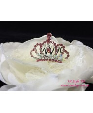 D 119-1pink  Коронка розовая на гребне со стразами