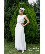 V 198-iv Платье молочное из шифона с кружевом