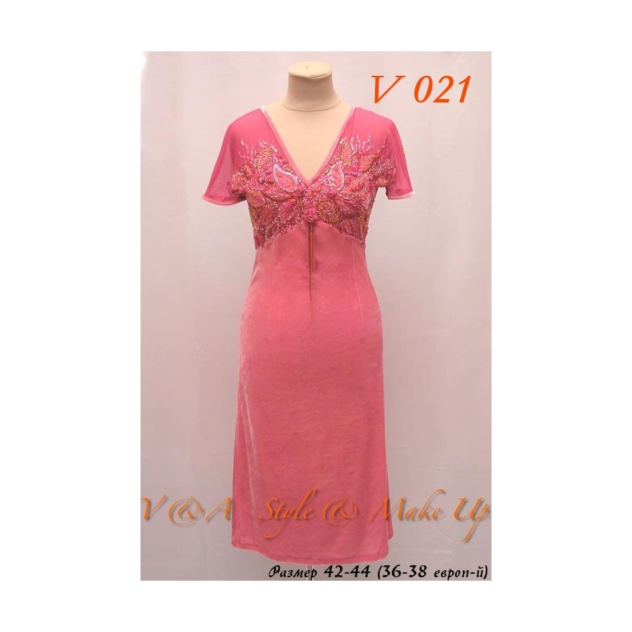 5e46bdf6317 Бархатное платье розовое с вышивкой бисером