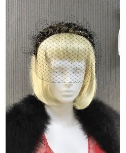 SH 576 Эксклюзивный ободок с вуалью расшитый  бусинами