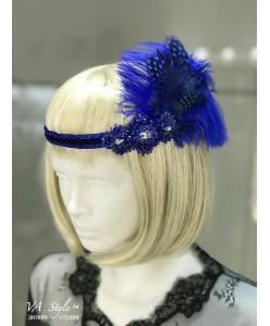 SH 581 Повязка яркая синяя с перьями и бисером
