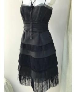 V 085 Платье из органзы с бахромой черного цвета