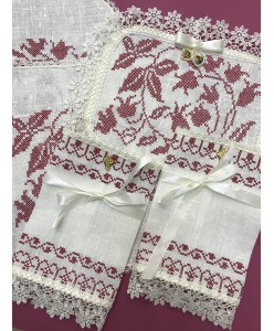 PL 072-mini Венчальный набор без рушников лён с бордовой вышивкой