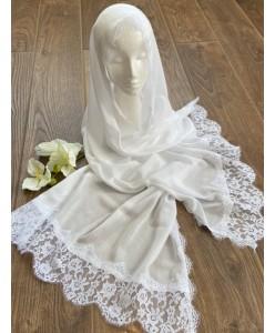 NK 076-1 Шаль-шарф белый хлопок с кружевом