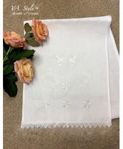 RU 079  Белый рушник лён с вышивкой