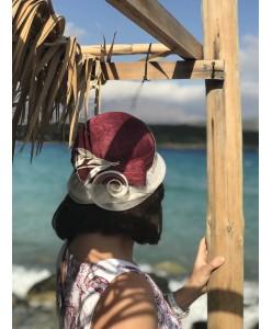 SH 590 Шляпка-клош из соломки бордо