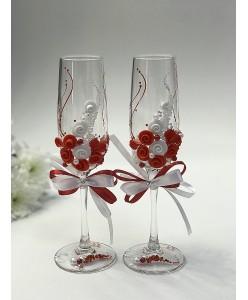 B 059-1red Свадебные бокалы с красным