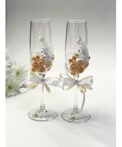 B 059-1peach Свадебные бокалы с персиковым декором