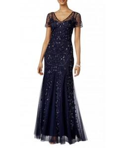 V 204 Платье расшитое бисером синее в пол