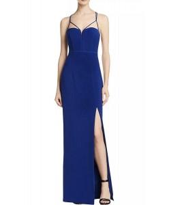 V 209 Яркое синее платье с открытой спиной