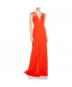 V 211 Яркое красное платье со шлейфом