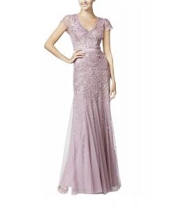 V 205  Платье расшитое бисером сиреневое