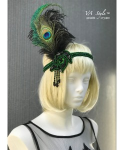 SH 594 Повязка-украшение с пером павлина в стиле Гэтсби