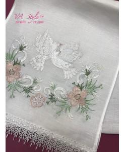 RU 100 Свадебный рушник нежный с голубями