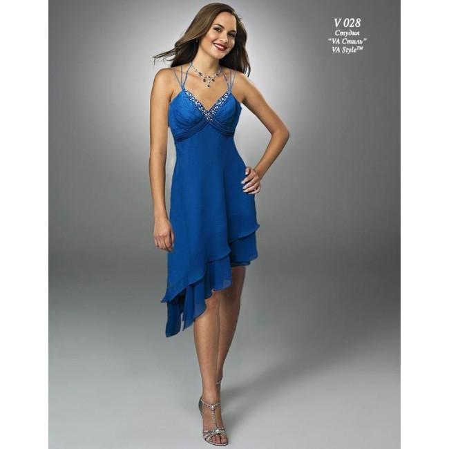 02c247a2d92 V 028 Платье из шифона синее с ассиметрией - Hatshop интернет ...