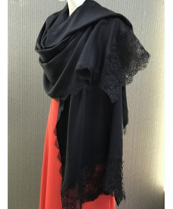 NK 086 Шаль-палантин плотный чёрный натуральный с кружевом