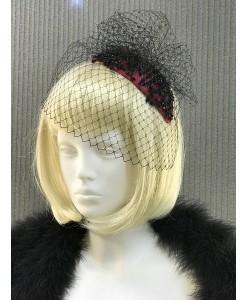 SH 532-1 Шляпка с вуалью чёрно-красная
