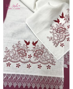 RU 079-2-L Белый рушник льняной с бордовой  вышивкой
