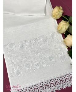 RU 102 Свадебный рушник белый по белому