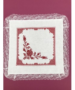 PL 098-1-red Платочки белые с красным с кружевом