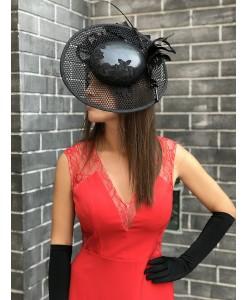 SH 612 Эксклюзивная шляпка черная с натуральной кожей