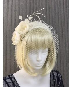SH 617 Шляпка с шелковыми цветами и вуалью