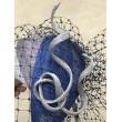 SH 618 Шляпка серо-синяя с завитком