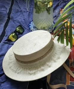 SH 619 Натуральная шляпка канотье соломка парасизаль