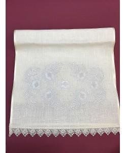 RU 066-ivory  Рушник  лён с вышивкой цветы