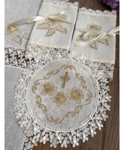 PL 066-ivory-gold Набор льняной с вышивкой золото