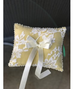 P 053-1 Подушечка для колец золотисто-молочного цвета