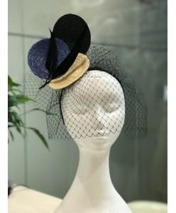 SH 606-1 Креативная шляпка на ободке с вуалью