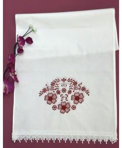 RU 058-r-long Рушник Длинный белый с красным  вышитый