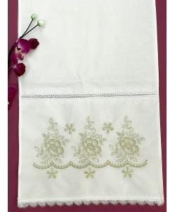RU 079-1-gold Рушник хлопок белый с золотой с вышивкой
